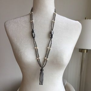 Jewelry - Hematites pearls crystal long tassel necklace